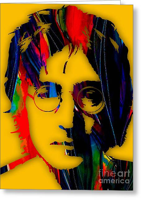 Pop Mixed Media Greeting Cards - John Lennon Collection Greeting Card by Marvin Blaine
