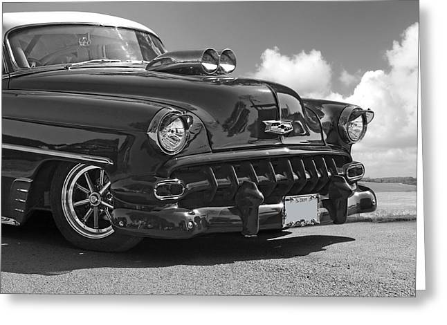 Restos Greeting Cards - 54 Chevy in Black and White Greeting Card by Gill Billington