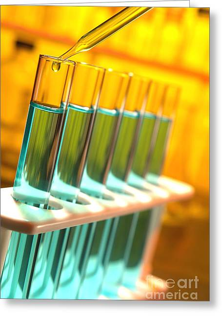 Experiment Greeting Cards - Laboratory Experiment  in Science Research Lab Greeting Card by Olivier Le Queinec