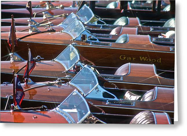 Portofino Italy Greeting Cards - Classic Wooden Runabouts Greeting Card by Steven Lapkin