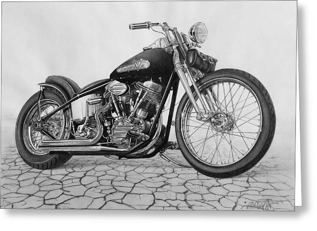 Harley Davidson Greeting Cards - 55 Pan Head Greeting Card by Tim Dangaran