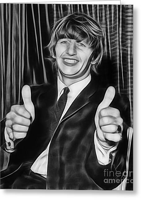 Cool Greeting Cards - Ringo Starr Collection Greeting Card by Marvin Blaine