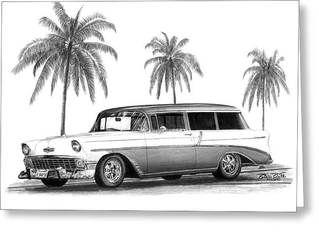 Charcoal Car Greeting Cards - 56 Chevy Wagon Greeting Card by Peter Piatt