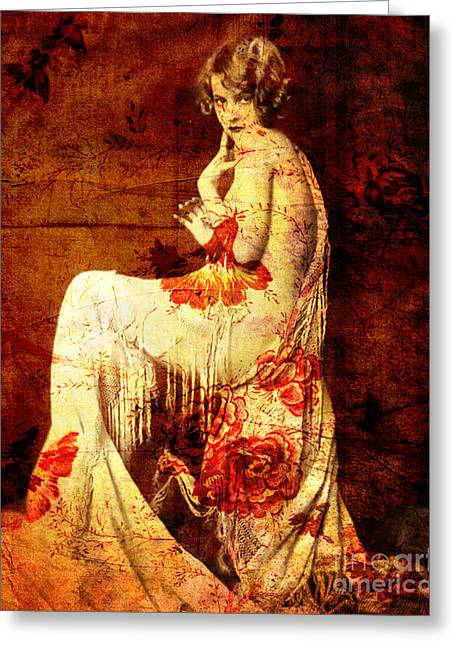 Nostalgic Mixed Media Greeting Cards - Winsome Woman  Greeting Card by Chris Andruskiewicz