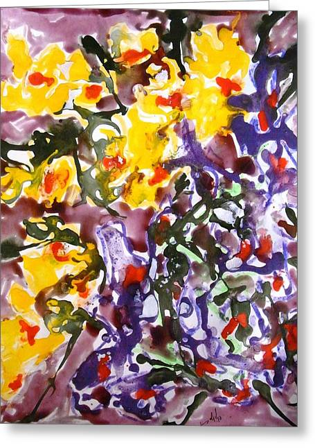 Nature Abstract Greeting Cards - Divine Flowers Greeting Card by Baljit Chadha