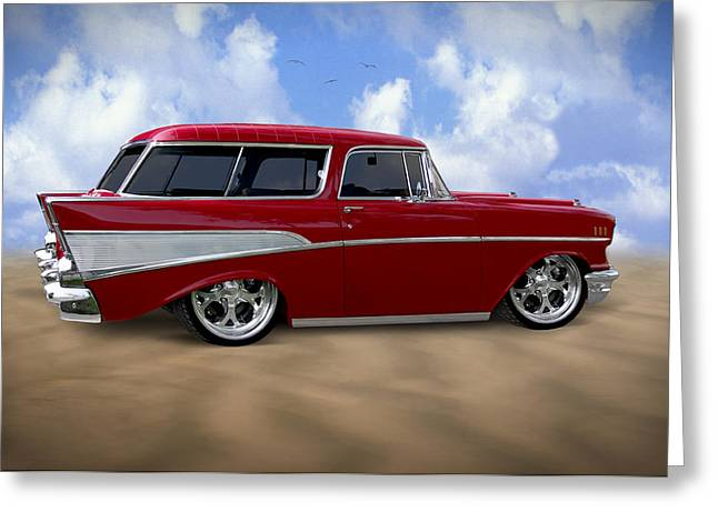 Nomads Greeting Cards - 57 Belair Nomad Greeting Card by Mike McGlothlen