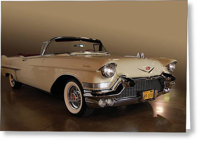 Cruisin For A Cure Greeting Cards - 57 Caddy Convertible Greeting Card by Bill Dutting