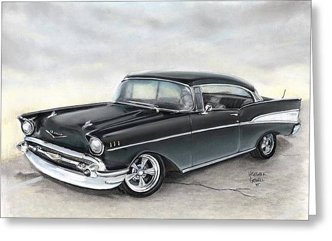 Car Pastels Greeting Cards - 57 Chev Greeting Card by Heather Gessell