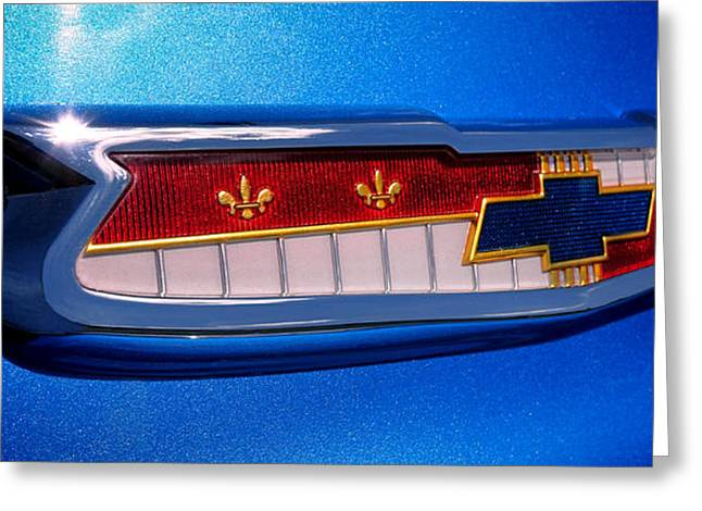 Chevrolet Trunk Greeting Cards - 57 Chevy Bel Air Badge  Greeting Card by Olivier Le Queinec