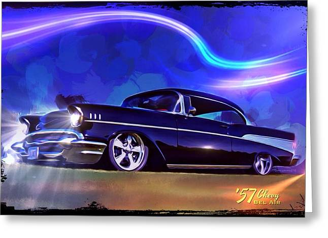 Division Greeting Cards - 57 Chevy Bel Air Sport Coupe Greeting Card by Scott Wallace
