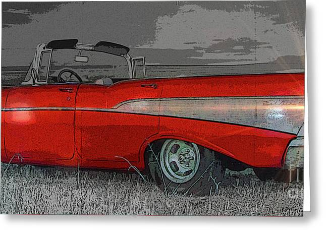 57 Chevy Heading For Route 66  Greeting Card by Al Bourassa