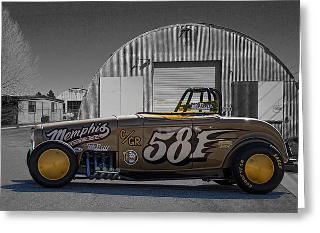 Salt Flats Racer Greeting Cards - 581 Bonneville Race Car Greeting Card by Nick Gray