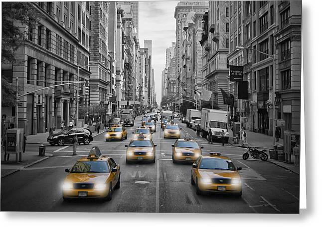 5th Nyc Avenue Yellow Cabs Greeting Card by Melanie Viola