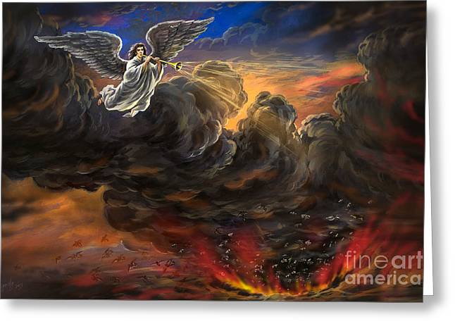 The Leaver Greeting Cards - 5th Trumpet Angel Revelation Nine Opens the Bottomless Pit Greeting Card by Vigovsky