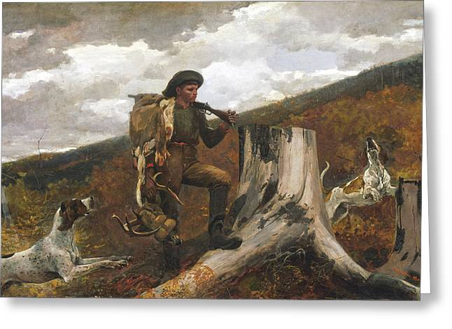 A Huntsman And Dogs Greeting Card by Winslow Homer