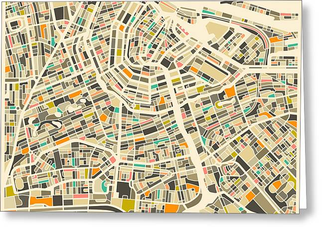 Map Greeting Cards - Amsterdam Map Greeting Card by Jazzberry Blue