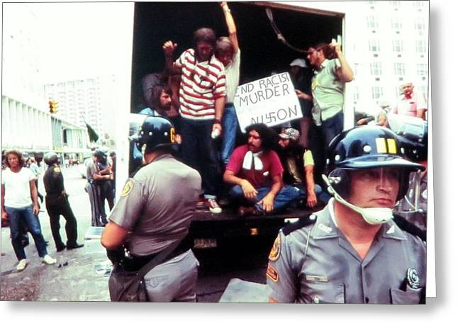 Area 52 Greeting Cards - Antiwar movement Miami Beach 1972  Greeting Card by Daniel Gomez