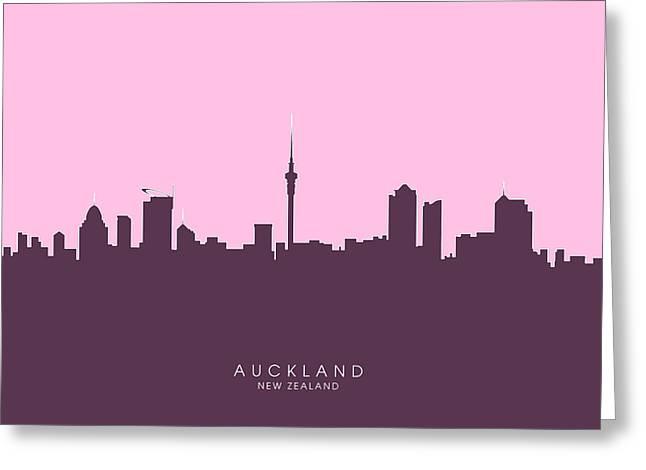 Auckland New Zealand Skyline Greeting Card by Michael Tompsett