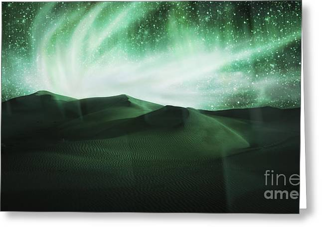 Particles Greeting Cards - Aurora Borealis Greeting Card by Setsiri Silapasuwanchai