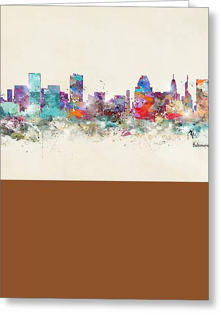 Baltimore Maryland Skyline Greeting Card by Bri B