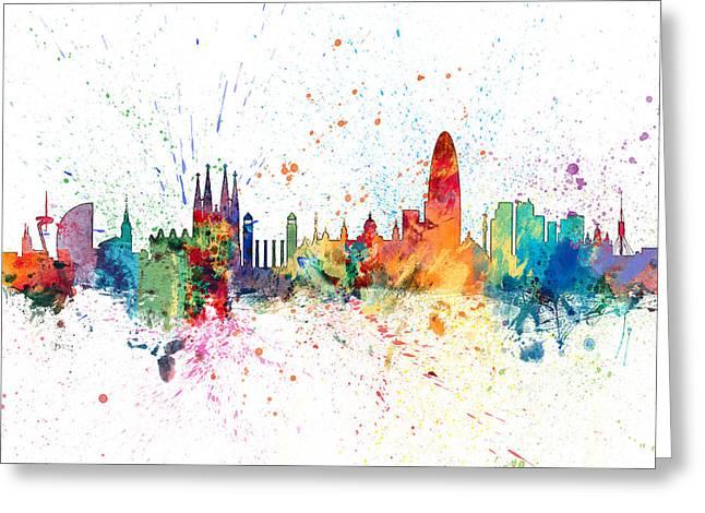 Barcelona Spain Skyline Greeting Card by Michael Tompsett