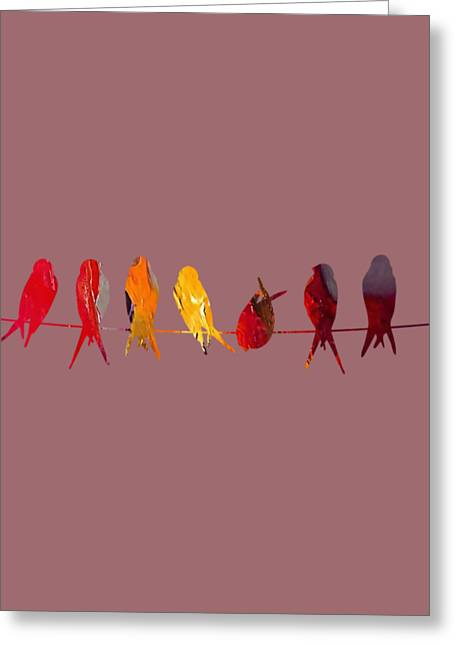 Tree Branches Greeting Cards - Birds on a Wire Collection Greeting Card by Marvin Blaine