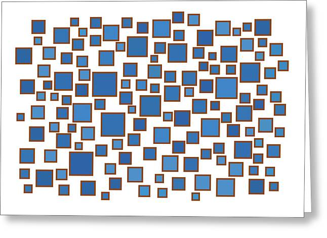 Rectangles Greeting Cards - Blue Abstract Greeting Card by Frank Tschakert