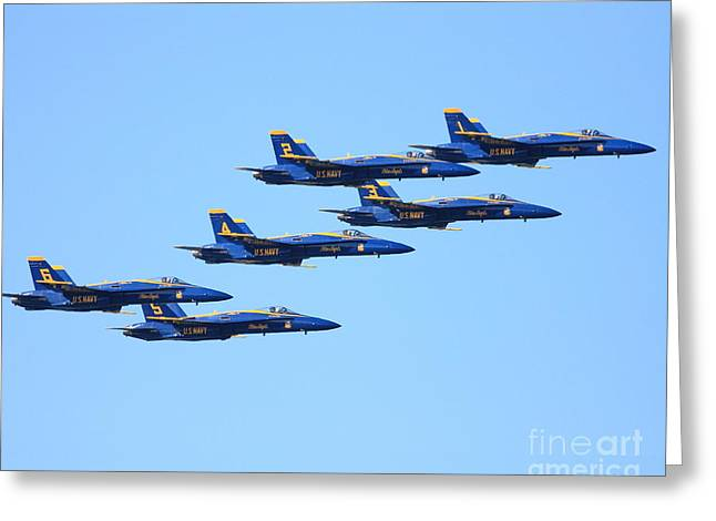 Fleet Week Greeting Cards - 6 Blue Angels jetting through the sky Greeting Card by Wingsdomain Art and Photography