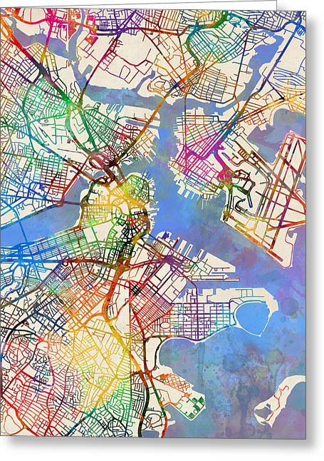 Boston Massachusetts Street Map Greeting Card by Michael Tompsett