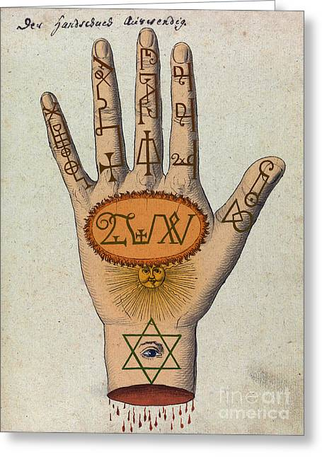 Cabbalistic Signs And Sigils, 18th Greeting Card by Science Source