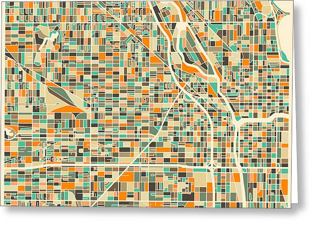 Maps - Greeting Cards - Chicago Map Greeting Card by Jazzberry Blue