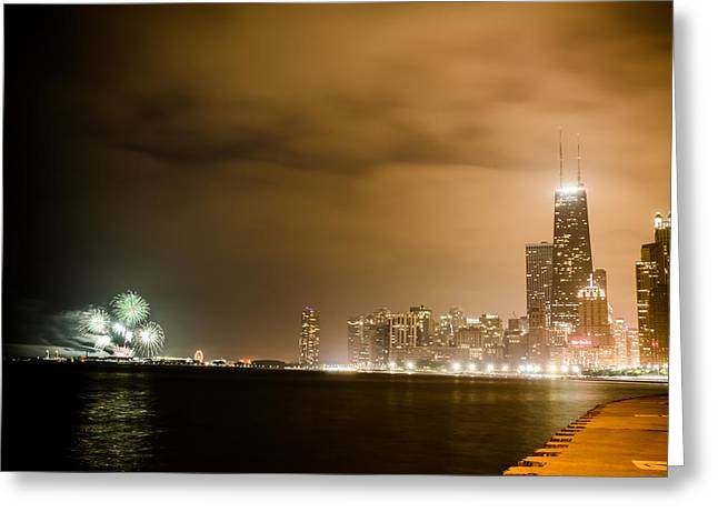 4th July Photographs Greeting Cards - Chicago Skyline Fireworks Greeting Card by Anthony Doudt