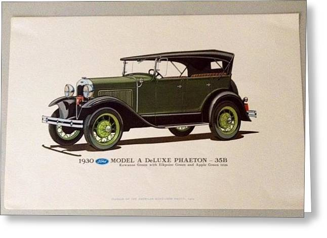 European work Drawings Greeting Cards - Classic American Cars Greeting Card by Dom Pacitti