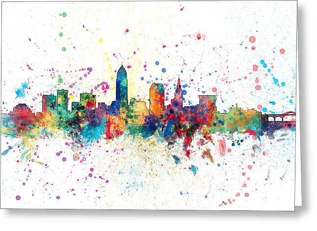 United States Greeting Cards - Cleveland Ohio Skyline Greeting Card by Michael Tompsett