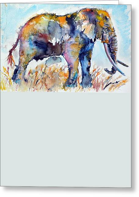 Paintings Greeting Cards - Colorful elephant Greeting Card by Kovacs Anna Brigitta
