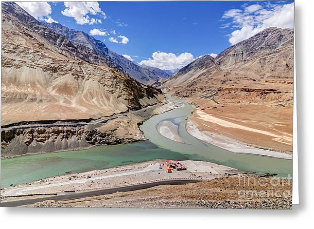 Indus Valley Greeting Cards - Confluence of Zanskar and Indus rivers - Leh Ladakh India Greeting Card by Rudra Narayan  Mitra
