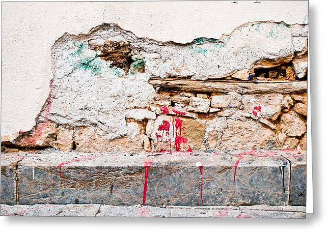 Defects Greeting Cards - Damaged wall Greeting Card by Tom Gowanlock