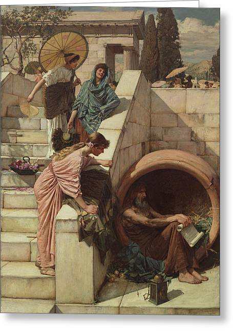 Camelot Greeting Cards - Diogenes Greeting Card by John William Waterhouse
