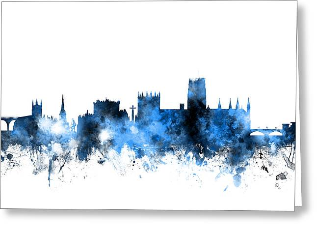 Durham England Skyline Cityscape Greeting Card by Michael Tompsett