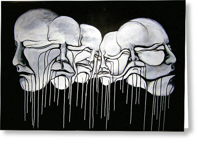 Improvisation Greeting Cards - 6 Faces Greeting Card by Stephen  Barry