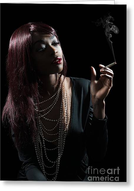 Film Noir Style Woman Greeting Card by Amanda And Christopher Elwell