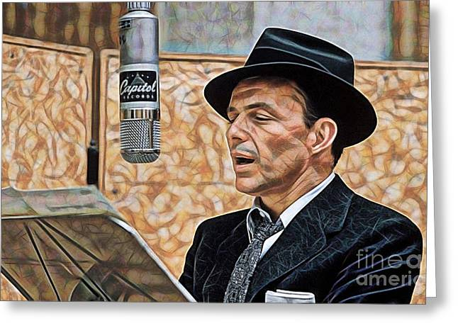 Musicians Mixed Media Greeting Cards - Frank Sinatra Collection Greeting Card by Marvin Blaine