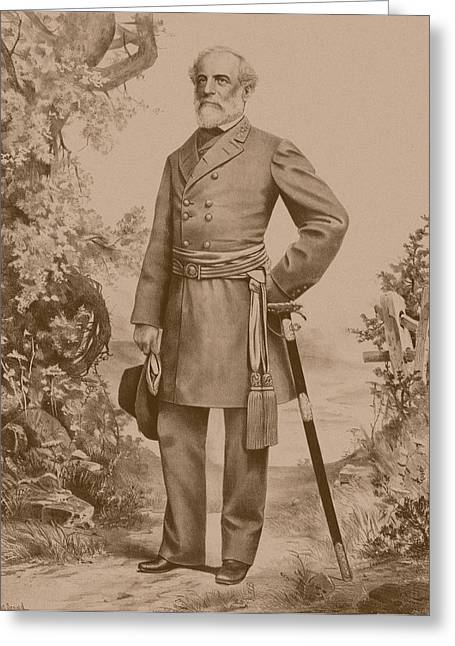 American Army Drawings Greeting Cards - General Robert E. Lee Greeting Card by War Is Hell Store