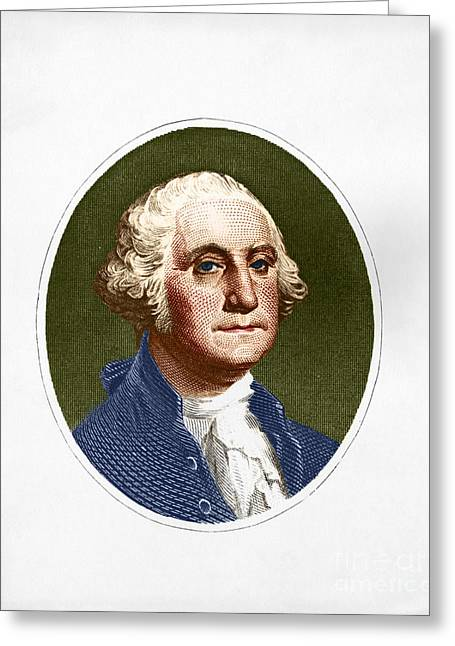 American Politician Greeting Cards - George Washington, 1st American Greeting Card by Photo Researchers