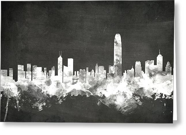 Blackboard Greeting Cards - Hong Kong Skyline Greeting Card by Michael Tompsett
