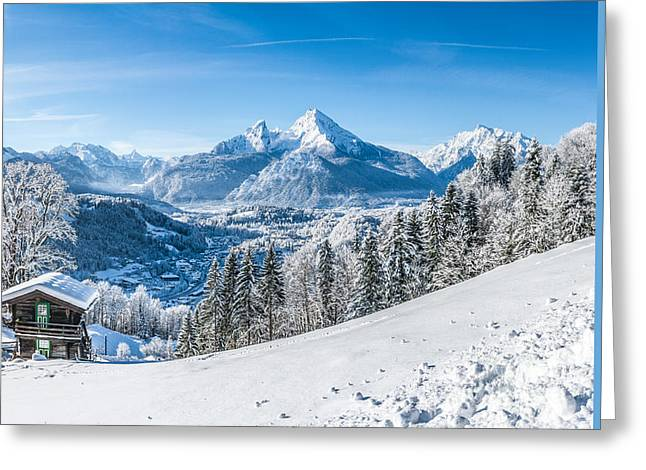 Swiss Photographs Greeting Cards - Snowy landscape in the Alps Greeting Card by JR Photography