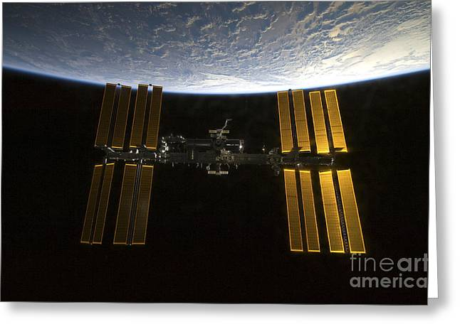 Curvature Greeting Cards - International Space Station Greeting Card by Stocktrek Images