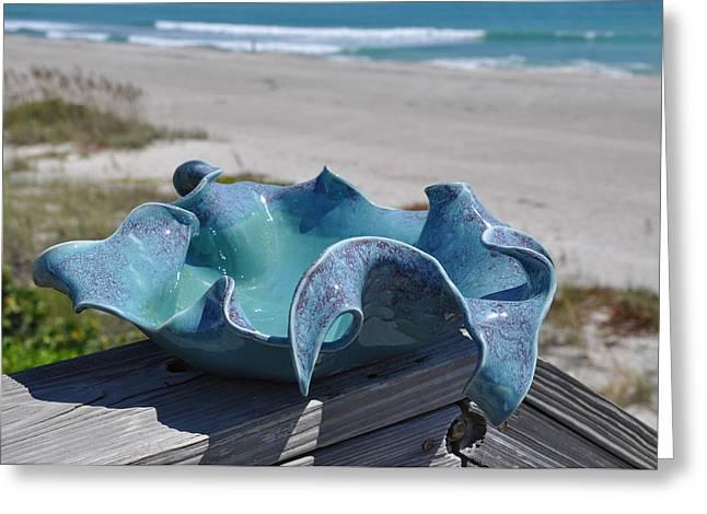 Ceramics Greeting Cards - Large Wave Bowl Greeting Card by Gibbs Baum