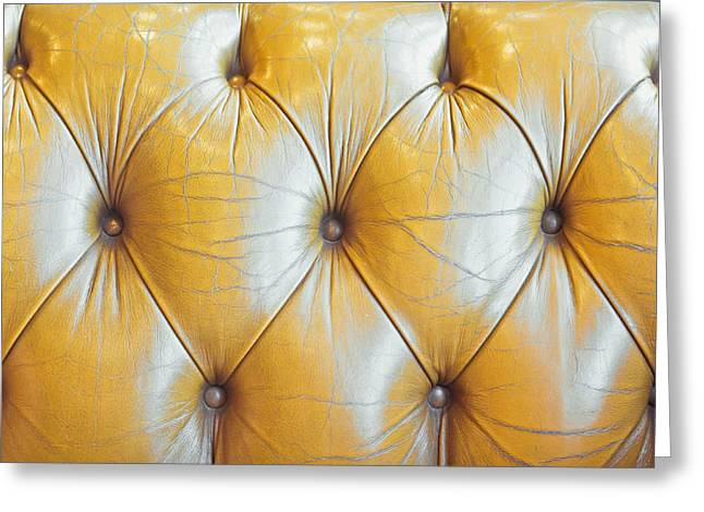 Boutique Art Greeting Cards - Leather upholstery Greeting Card by Tom Gowanlock
