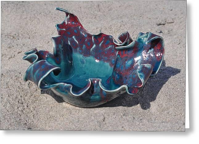 Table Ceramics Greeting Cards - Medium Wave Bowl Greeting Card by Gibbs Baum